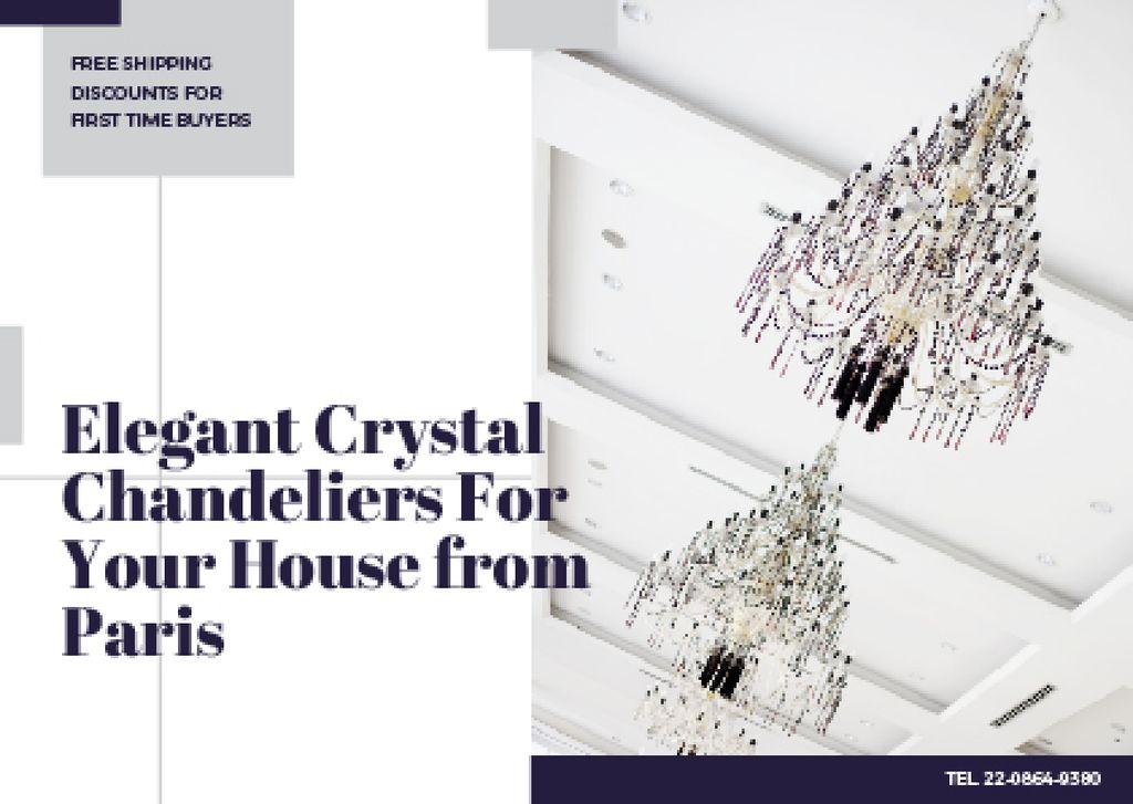 Plantilla de diseño de Elegant crystal chandeliers from Paris Card