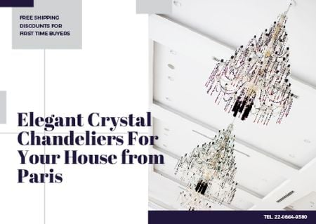 Designvorlage Elegant crystal chandeliers from Paris für Card