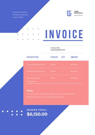 Industry Company Services on Geometric Pattern Invoice – шаблон для дизайна