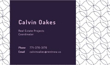 Real Estate Coordinator Ad Geometric Pattern in Purple | Business Card Template