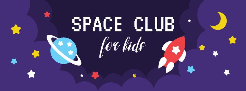 Plantilla de diseño de Rocket and planet in Space Facebook cover