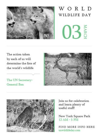 Plantilla de diseño de World Wildlife Day Animals in Natural Habitat Flayer