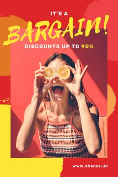 Shocking Sale Announcement with Girl Holding Oranges for Tumblr Graphic