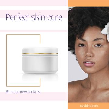 Skincare Ad Woman with Nude Face and Flower | Square Video Template