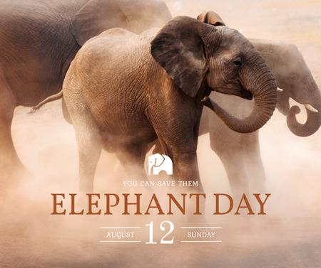 Plantilla de diseño de Elephant Day wild animals in habitat Facebook