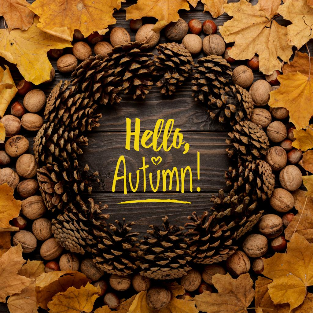 Hello autumn inscription in circle made of fir cones — Crear un diseño