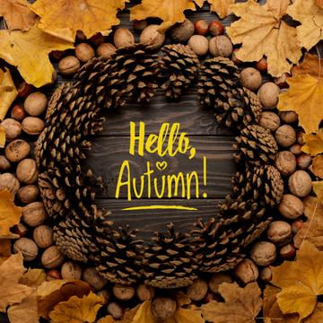 Hello autumn inscription in circle made of fir cones