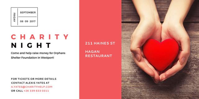 Ontwerpsjabloon van Image van Charity event Hands holding Heart in Red