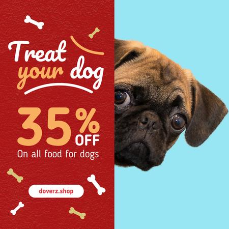 Dog Food Sale Cute Pug Face Instagramデザインテンプレート