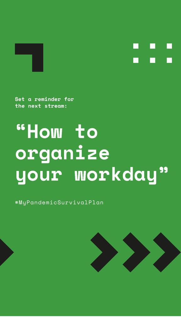 #MyPandemicSurvivalPlan Live Stream Topic about Workday organaizing — Crea un design