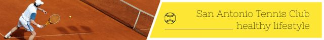 Modèle de visuel Tennis Club Ad Player at the Court - Leaderboard