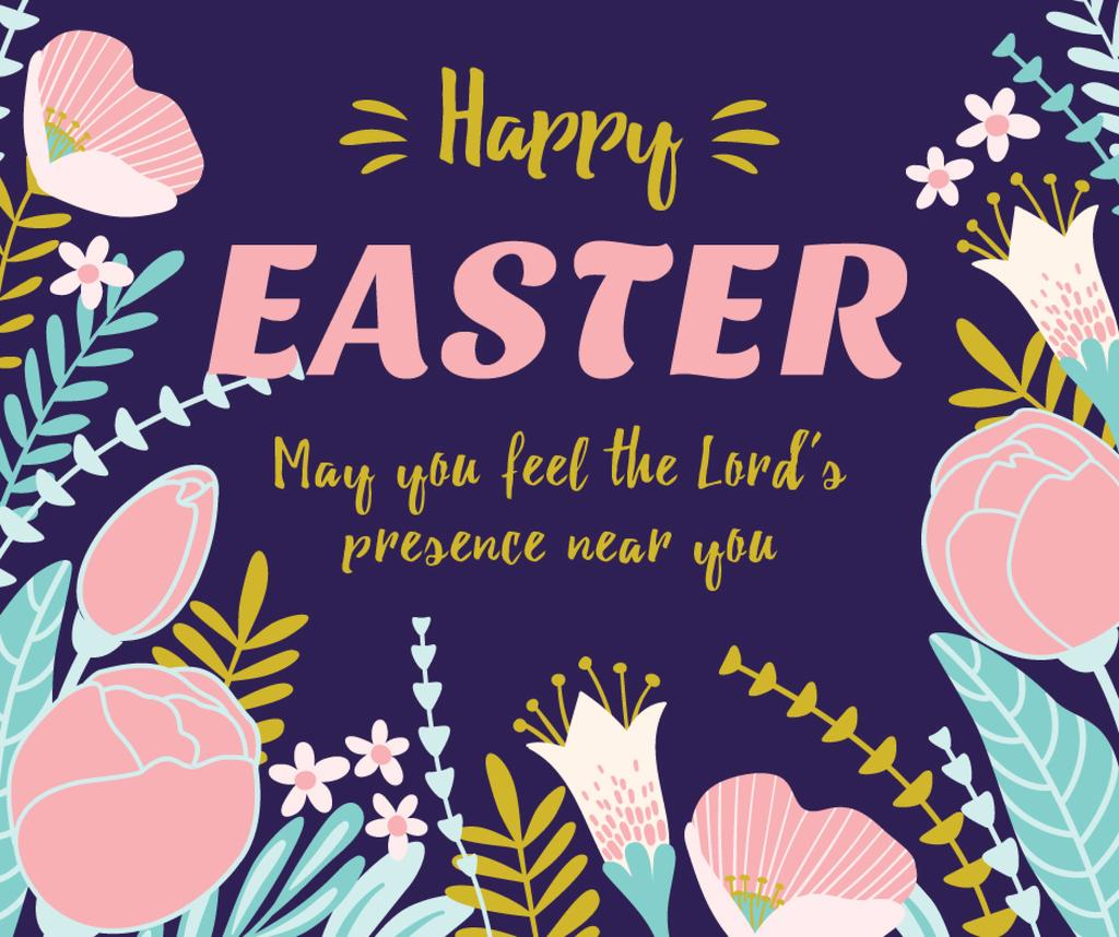 Happy Easter greeting in Flowers — Create a Design