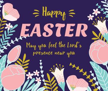 Happy Easter greeting in Flowers