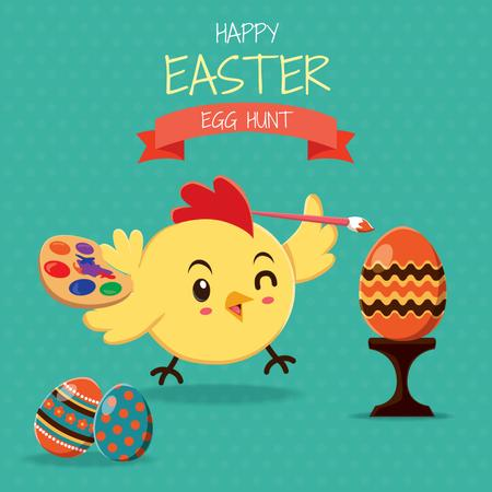 Plantilla de diseño de Easter chick coloring egg Animated Post