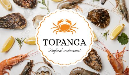 Seafood Restaurant with Fresh Products on Ice Business card Tasarım Şablonu