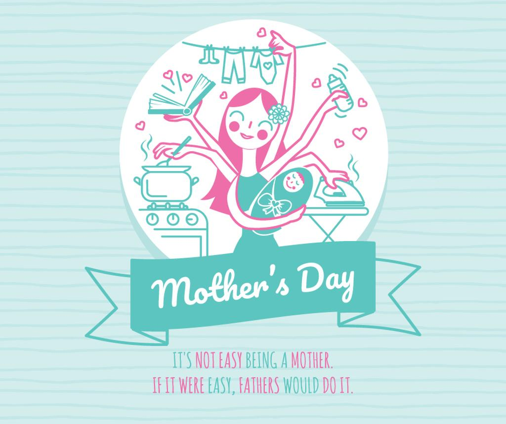 Mother's Day Greeting Wonder mom with baby — Modelo de projeto