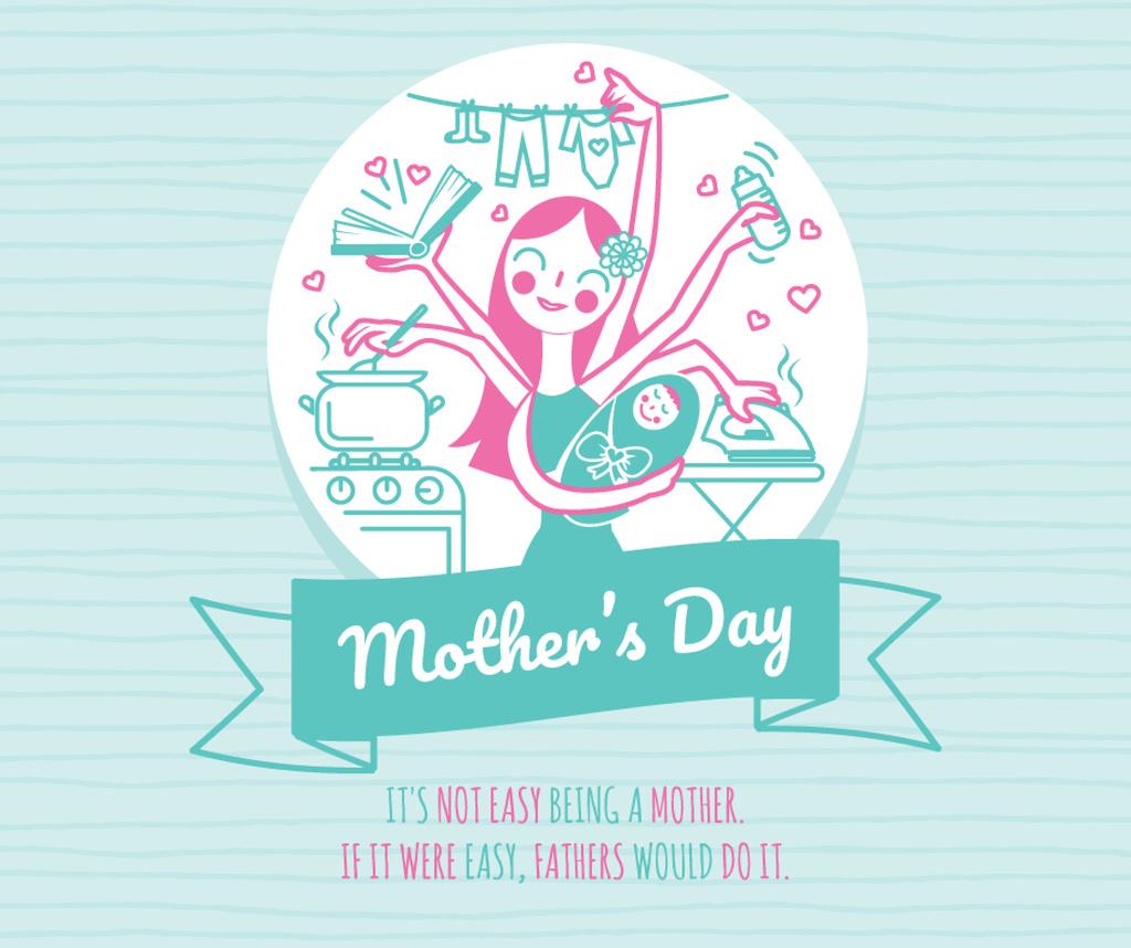 Mother's Day Greeting Wonder mom with baby — ein Design erstellen