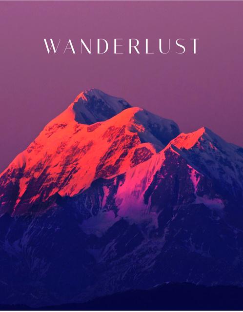Ontwerpsjabloon van T-Shirt van Majestic Landscape of Sunset on Mountain
