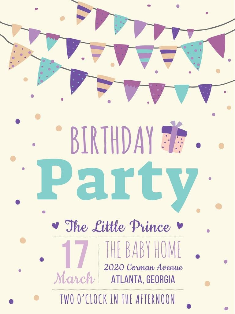 Birthday party invitation card Poster US template - Design Online ...