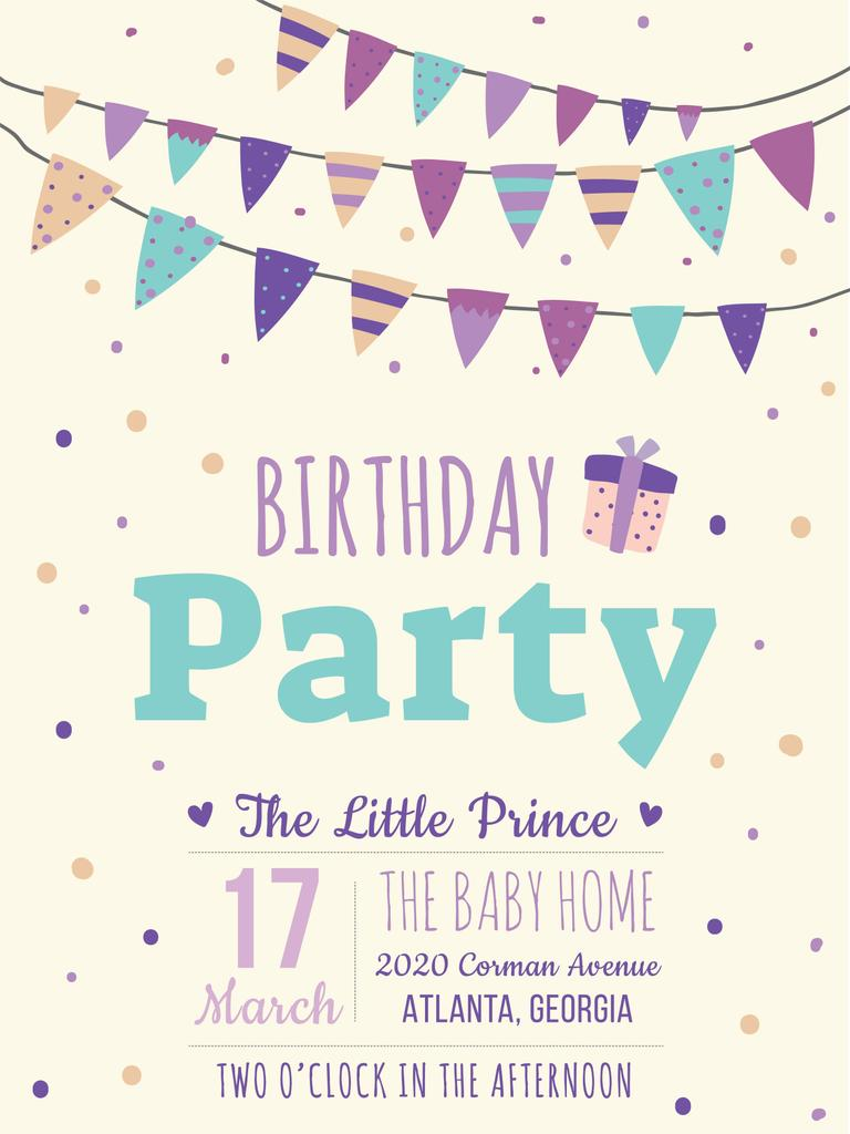 Birthday party invitation card Poster US 18x24in template ...