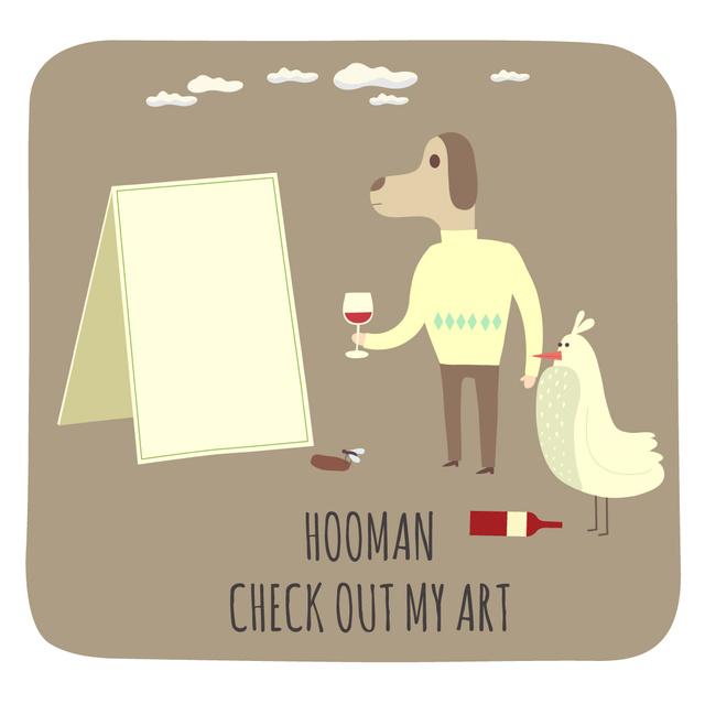 Dog character spilling wine on canvas Animated Post Modelo de Design