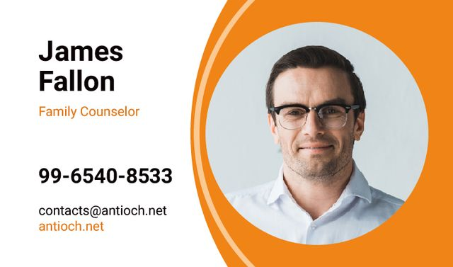 Family Counselor Contacts with Smiling Man Business card – шаблон для дизайна