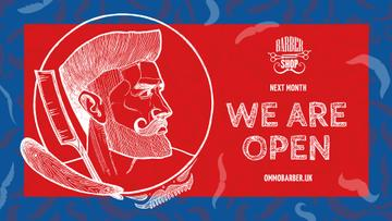 Barbershop Ad Man with Stylish Haircut | Facebook Event Cover Template