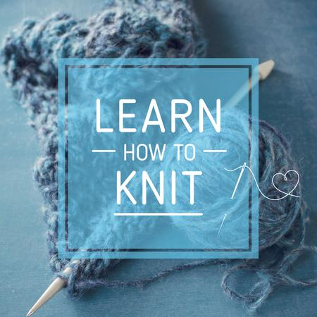 Knitting Workshop Needle and Yarn in Blue Instagram ADデザインテンプレート