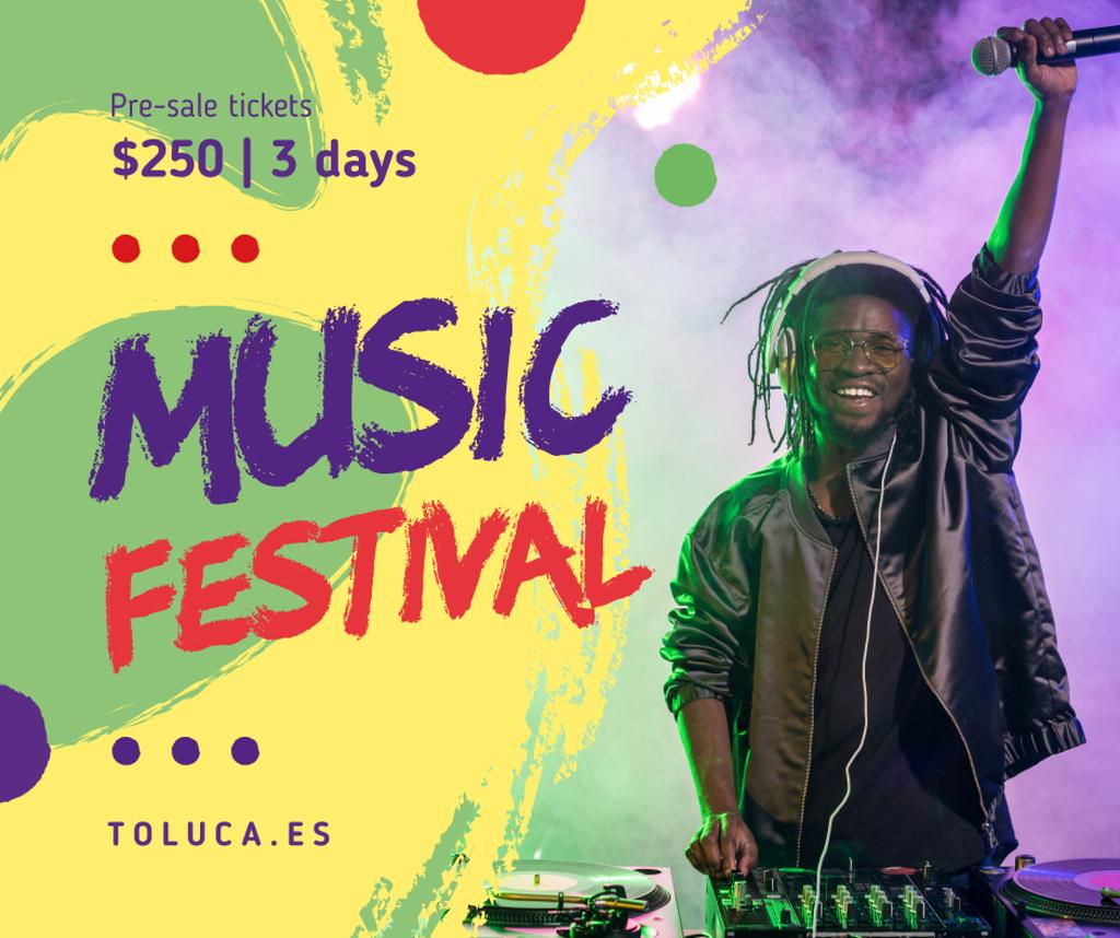 Music Fest Invitation DJ playing at Party | Facebook Post Template — Crear un diseño