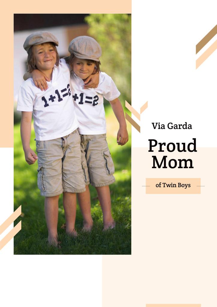 Twins in shirts in outdoors — Crear un diseño