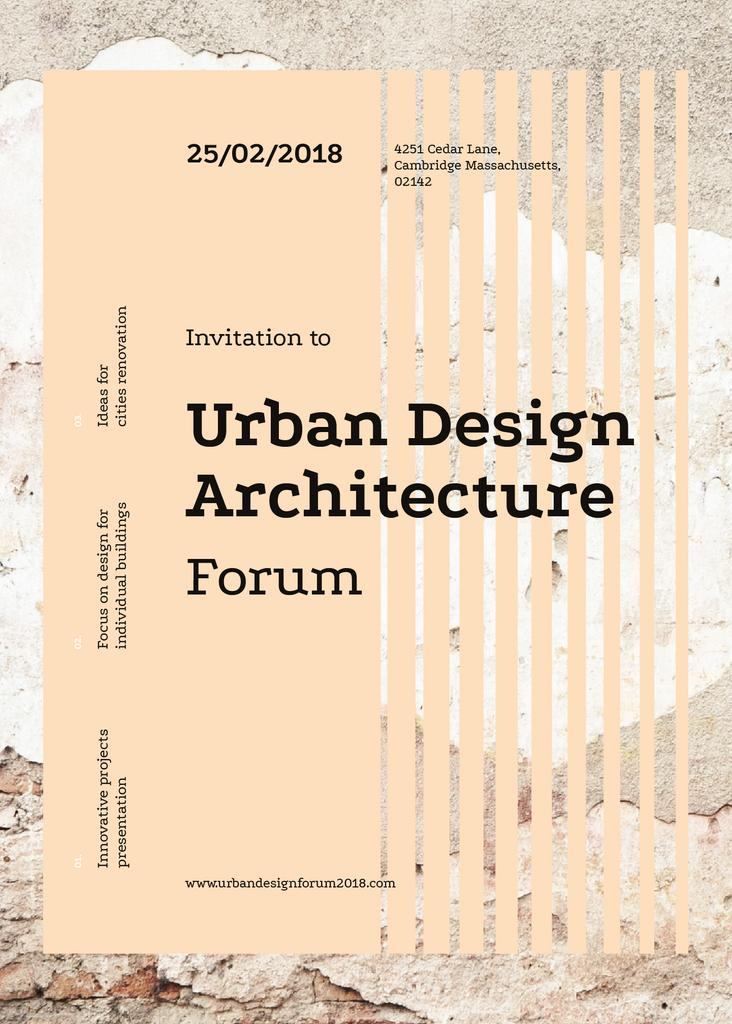 Urban design forum ad on Beige concrete wall — Создать дизайн