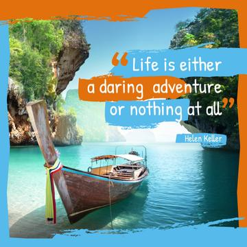 Boat at tropical coast with Quote