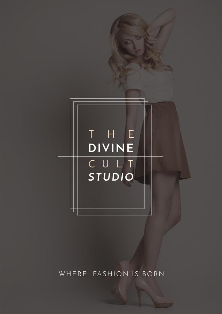 Ontwerpsjabloon van Poster van Beauty Studio Ad with Attractive Blonde