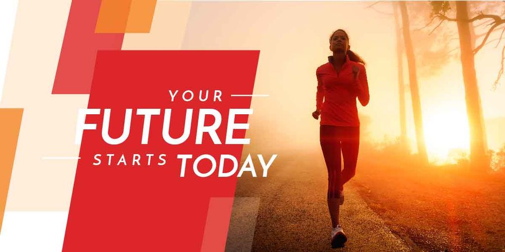 Motivational phrase and running young woman — Créer un visuel