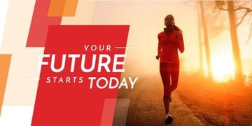 Motivational phrase and running young woman