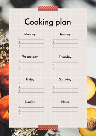 Cooking Plan in Frame with Fruits Schedule Plannerデザインテンプレート