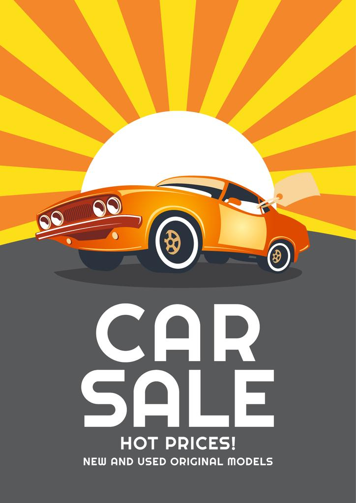 Car Sale Advertisement with Car in orange — Créer un visuel