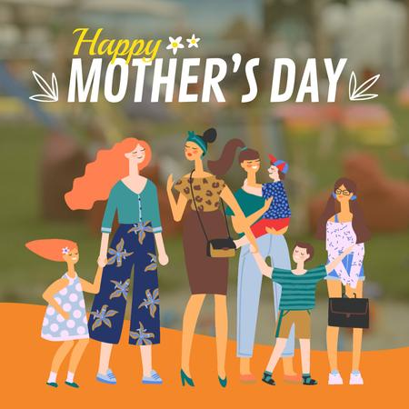 Ontwerpsjabloon van Animated Post van Diverse Mothers with their Kids on Mothers Day