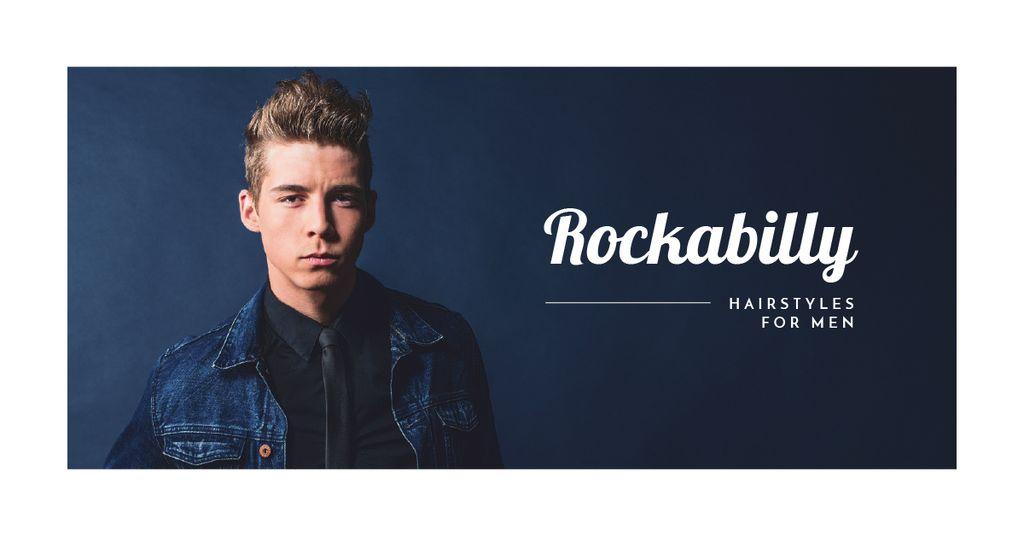 Man with rockabilly hairstyle — Modelo de projeto