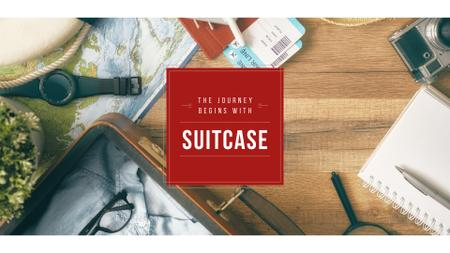 Journey Inspiration with Suitcase Presentation Wide Modelo de Design
