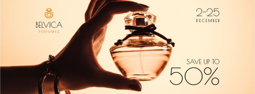 Sale Offer with Woman Holding Perfume Bottle — Створити дизайн
