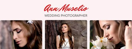 Wedding Photography offer Bride in White Dress Facebook cover Modelo de Design