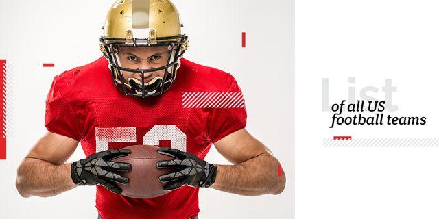 list of all US football teams poster with player Image – шаблон для дизайну