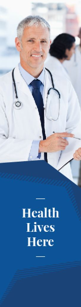 Smiling Doctor with Stethoscope in Blue | Wide Skyscraper Template — Создать дизайн