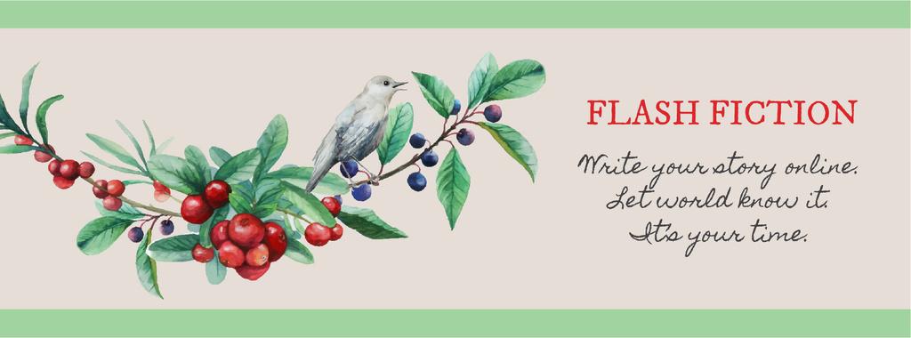 Writing Inspiration Quote Bird on a Branch | Facebook Cover Template — Créer un visuel