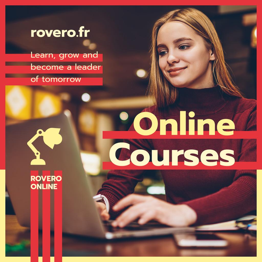 Online Courses Ad Woman Typing on Laptop in Red | Instagram Post Template — Створити дизайн