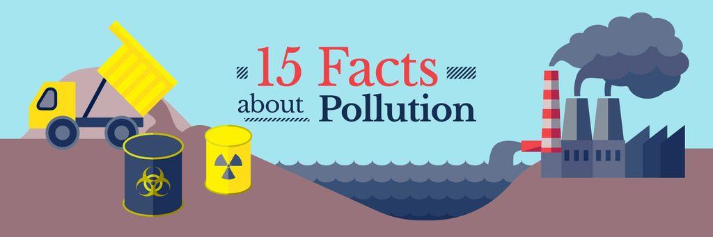15 facts about pollution banner Twitter – шаблон для дизайну
