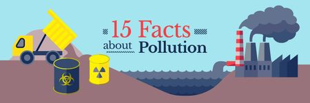 15 facts about pollution banner Twitter Modelo de Design