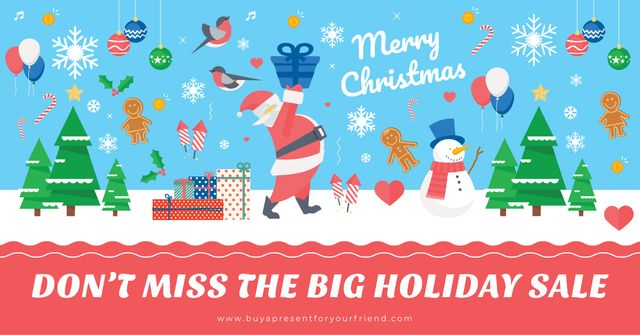 Christmas sale Offer with Santa holding Gift Facebook AD Design Template
