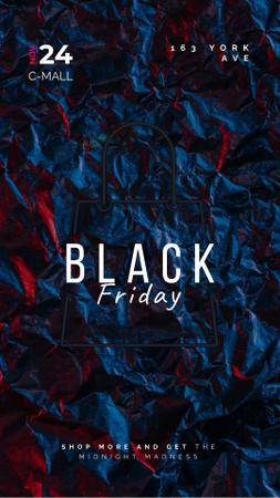 Black Friday Sale Glowing Shopping Bag Instagram Video Story Tasarım Şablonu
